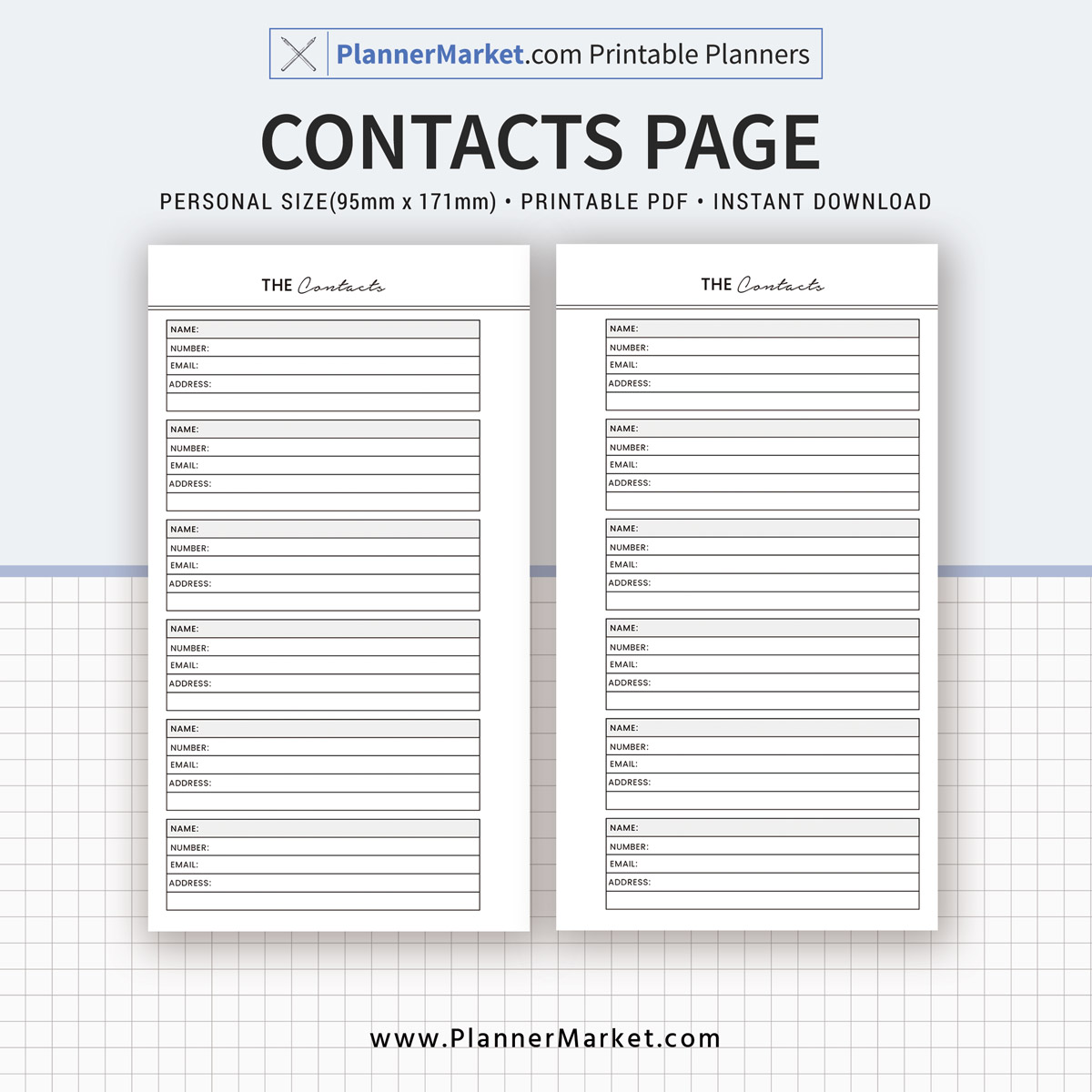 contacts page  personal size inserts  planner refill