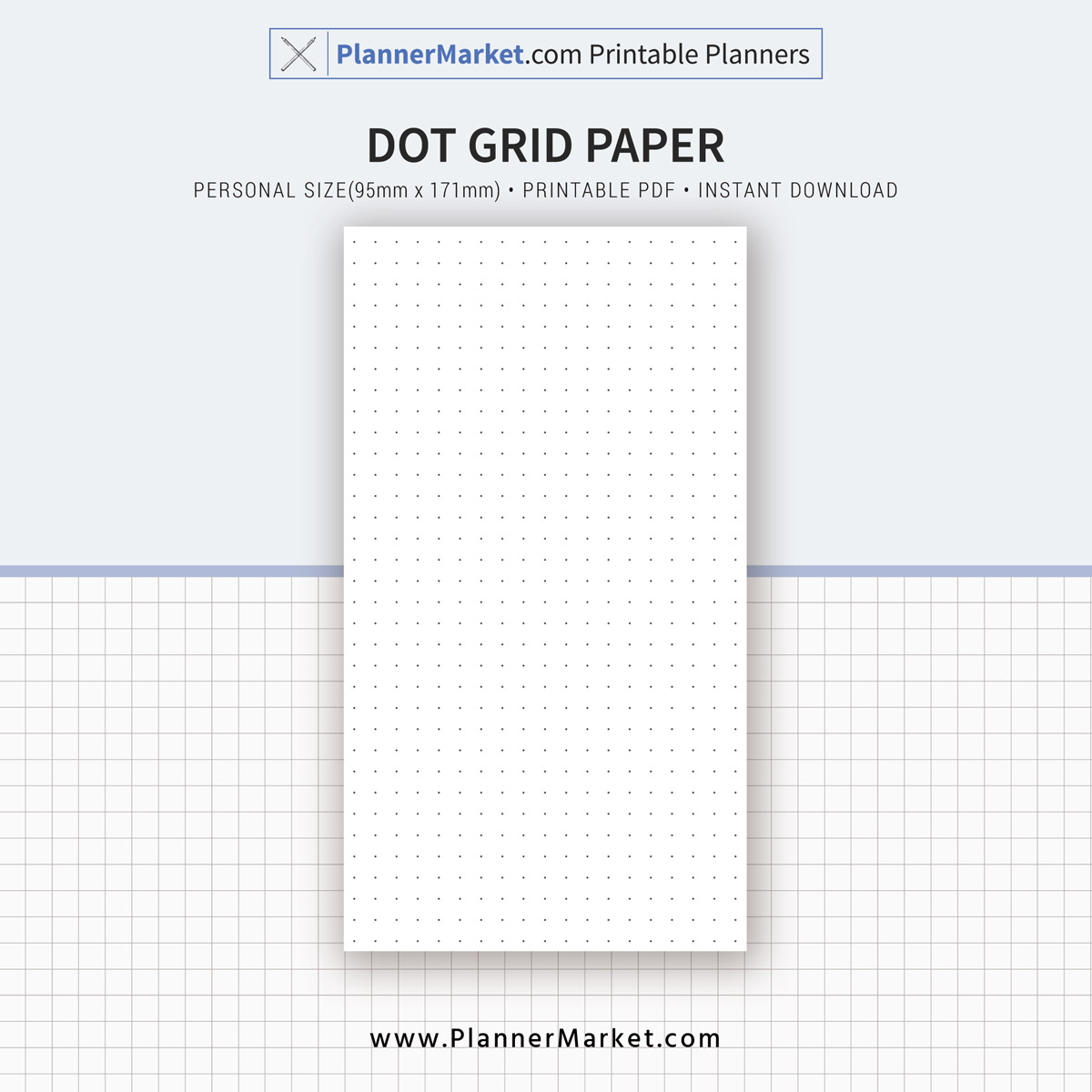 image about Dot Grid Paper Printable titled Uncomplicated Site Printable, Dot Grid, Grid, Protected Paper, Specific Dimension, Planner Inserts, Planner Binder, Fast Down load
