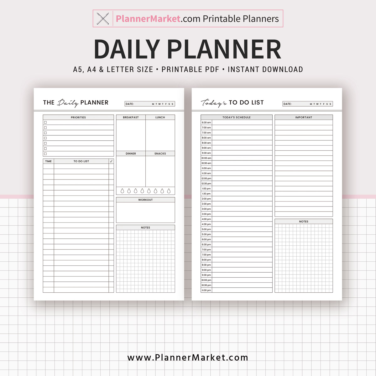 picture regarding Daily Planner Template identify Everyday Planner, Day-to-day Agenda, 2019 Planner, A5, A4, Letter Sizing, Planner Refill, Planner Binder, Quick Down load