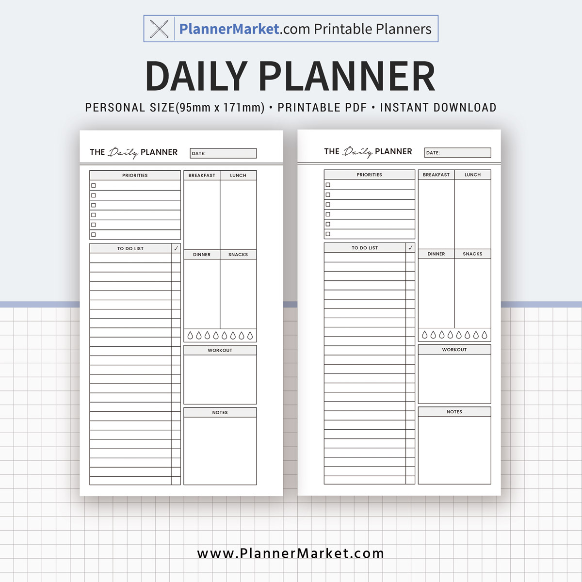 image regarding Daily Planner Printable referred to as Day by day Planner, 2019 Planner, Person Dimensions Inserts, Planner Refill, Planner Binder, Printable Planner, Instantaneous Obtain