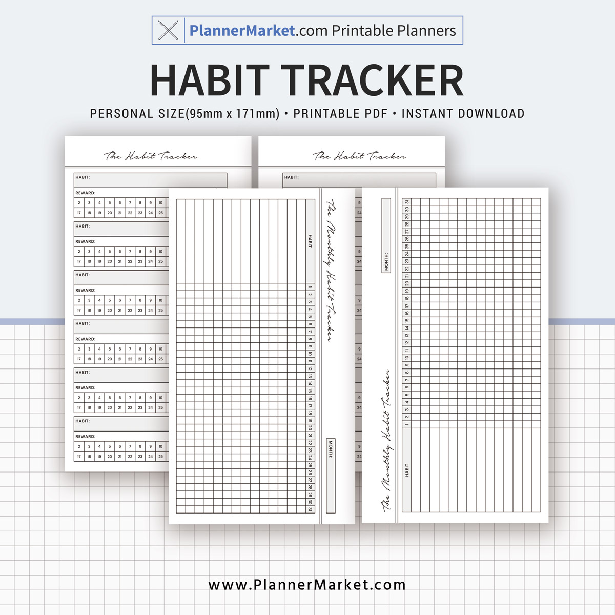 photograph regarding Habit Tracker Printable titled Practice Tracker, Every month Behavior Tracker, 2019 Planner, Person Sizing Inserts, Planner Refill, Printable PDF, Prompt Down load