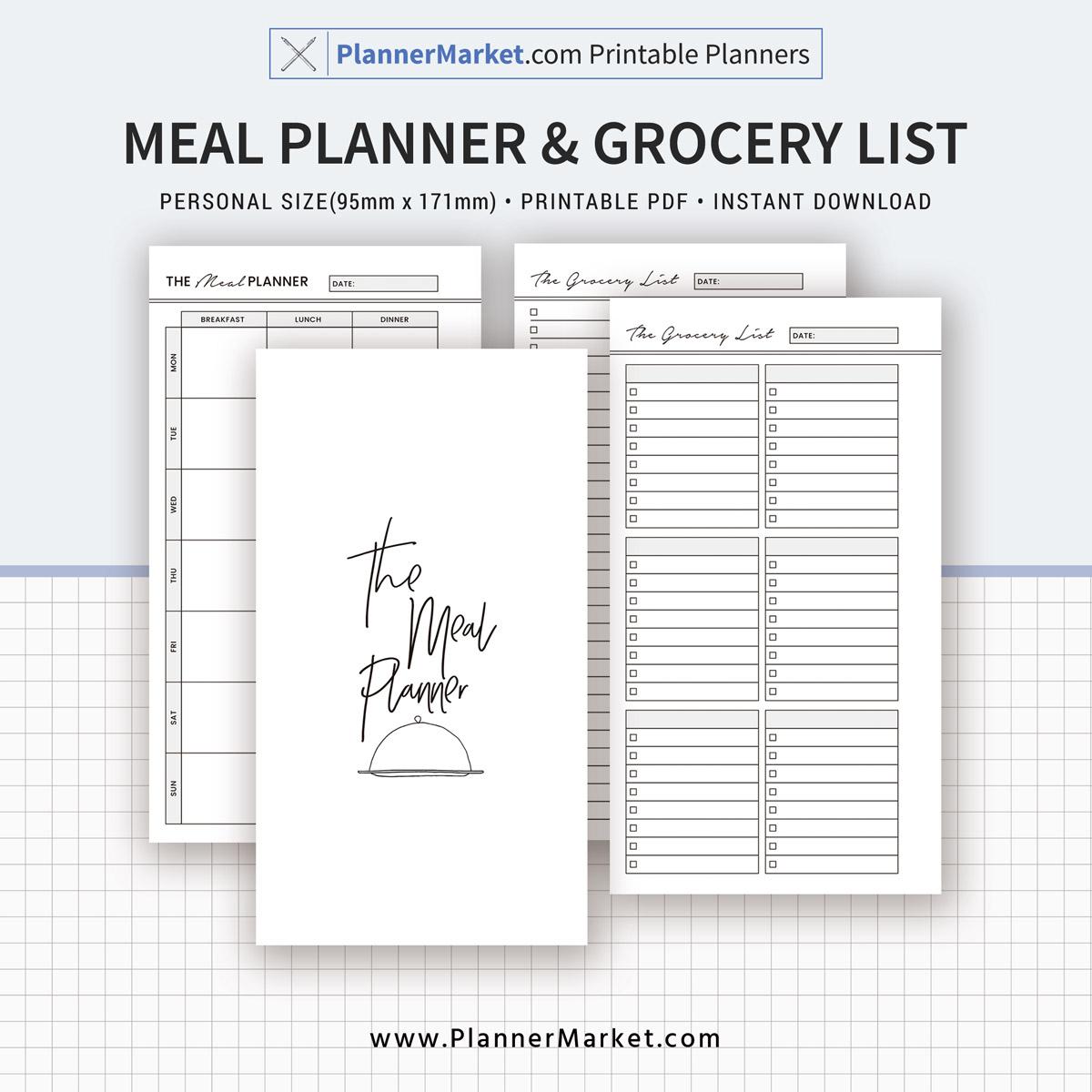 2019 Meal Planner Menu Planner Grocery List Planner Inserts