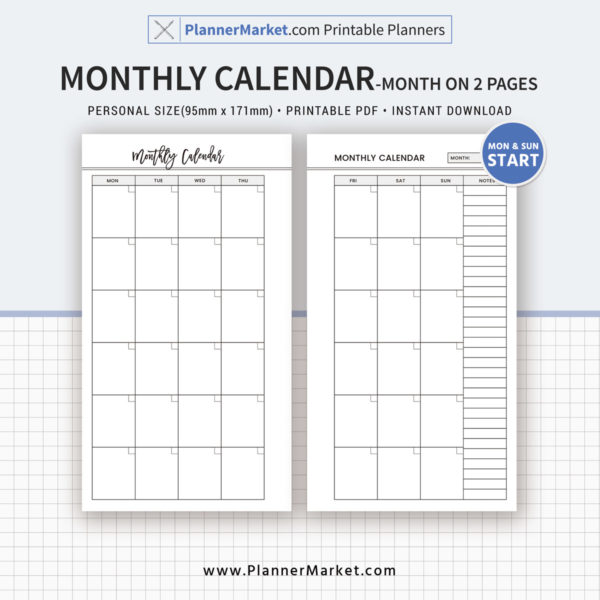 Monthly Calendar, Monthly Planner, Month On 2 Pages, 2020 Planner