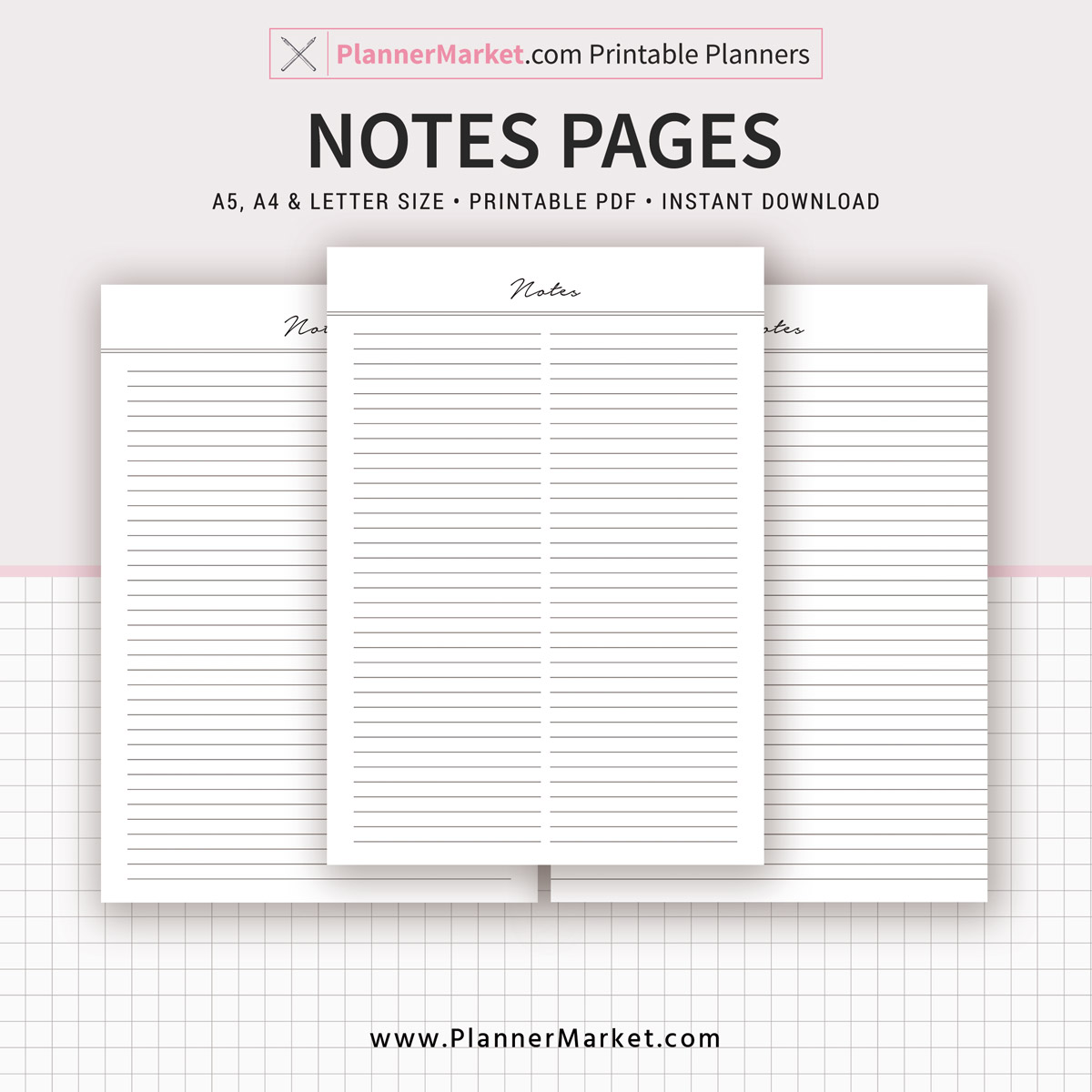 picture regarding Notes Printable named Notes Web site, 2019 Planner, A5, A4, Letter Dimensions, Planner Refill, Planner Binder, Printable Planner, Fast Down load
