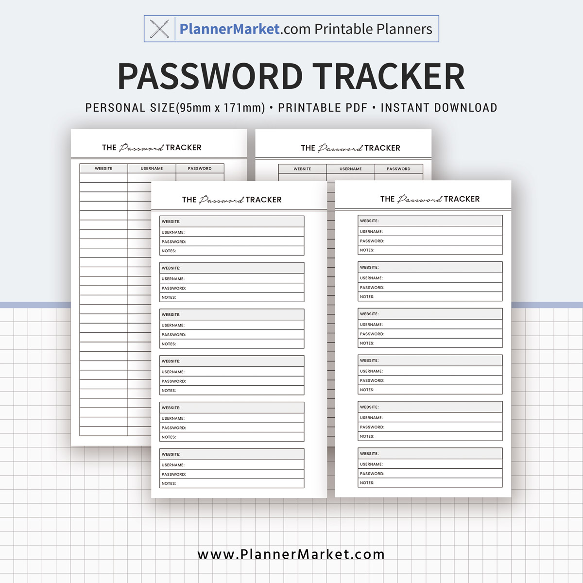 Password Tracker Inserts Planner 2019 Personal Size Planner