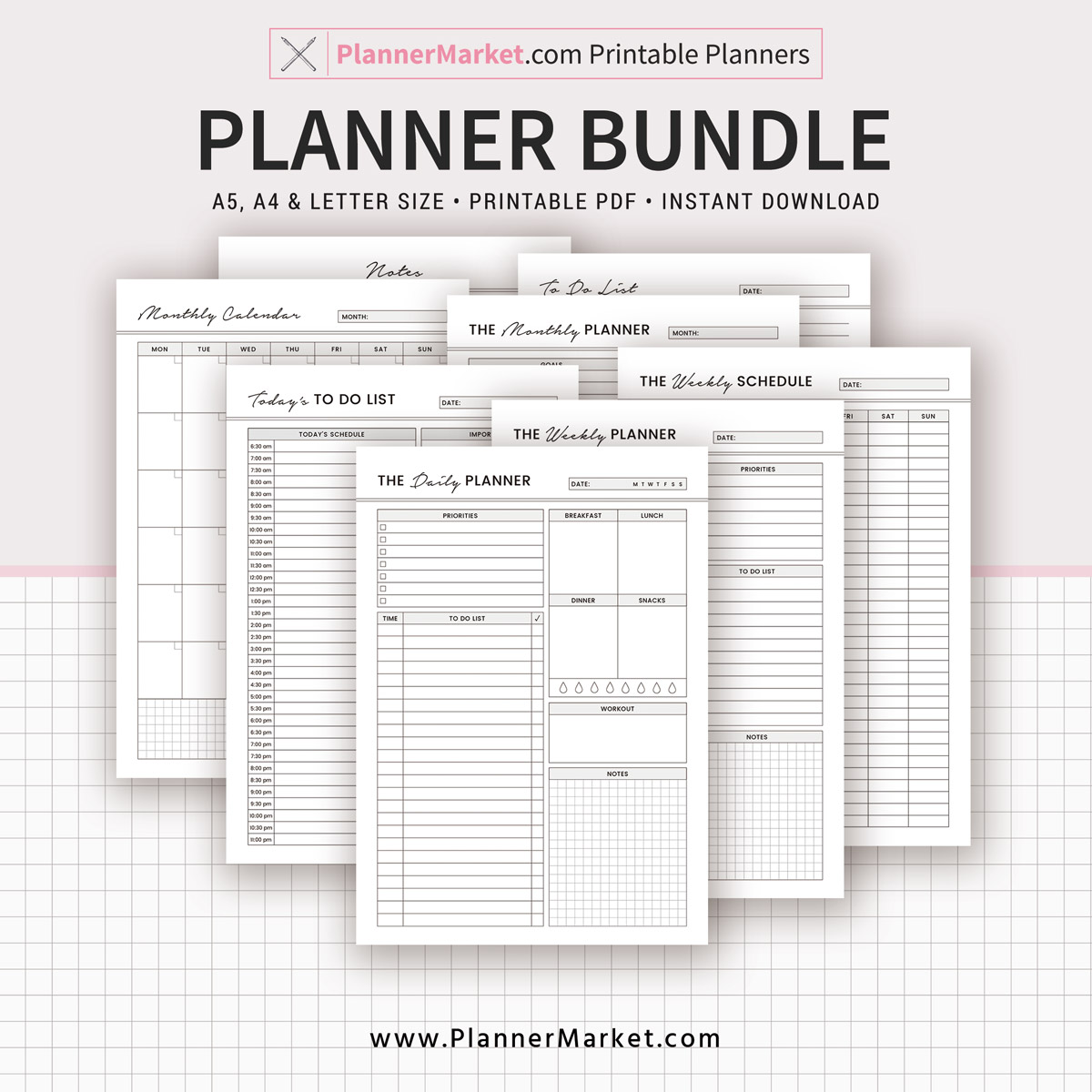 photo relating to Planner Refills referred to as Planner Package, 2019 Planner, Day-to-day, Weekly, Regular monthly, Towards Do, Notes, A5, A4, Letter Measurement, Planner Inserts, Planner Binder