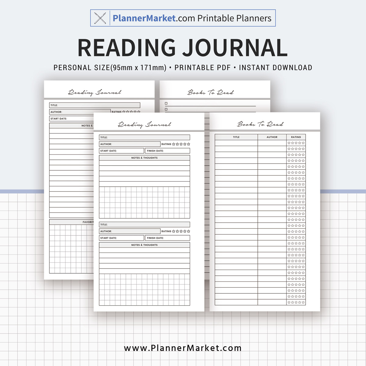 graphic regarding Reading Journal Printable named Reading through Magazine, 2019 Planner, Unique Dimensions Inserts, Planner Refill, Planner Binder, Printable Planner, Immediate Down load