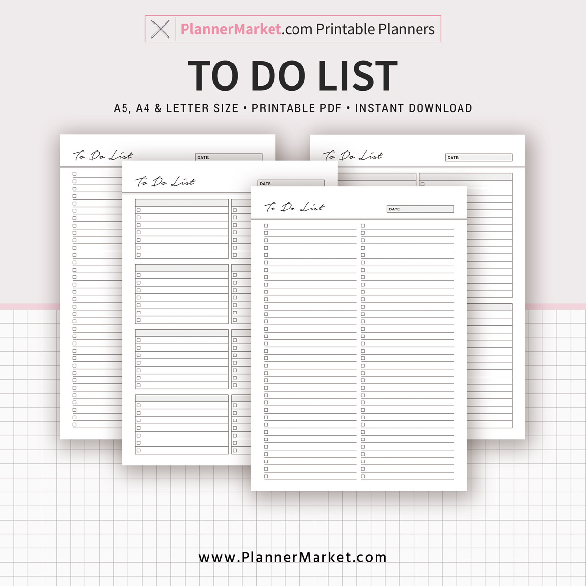 To Do List, Planner 2019, A5, A4, Letter Size, Printable ...