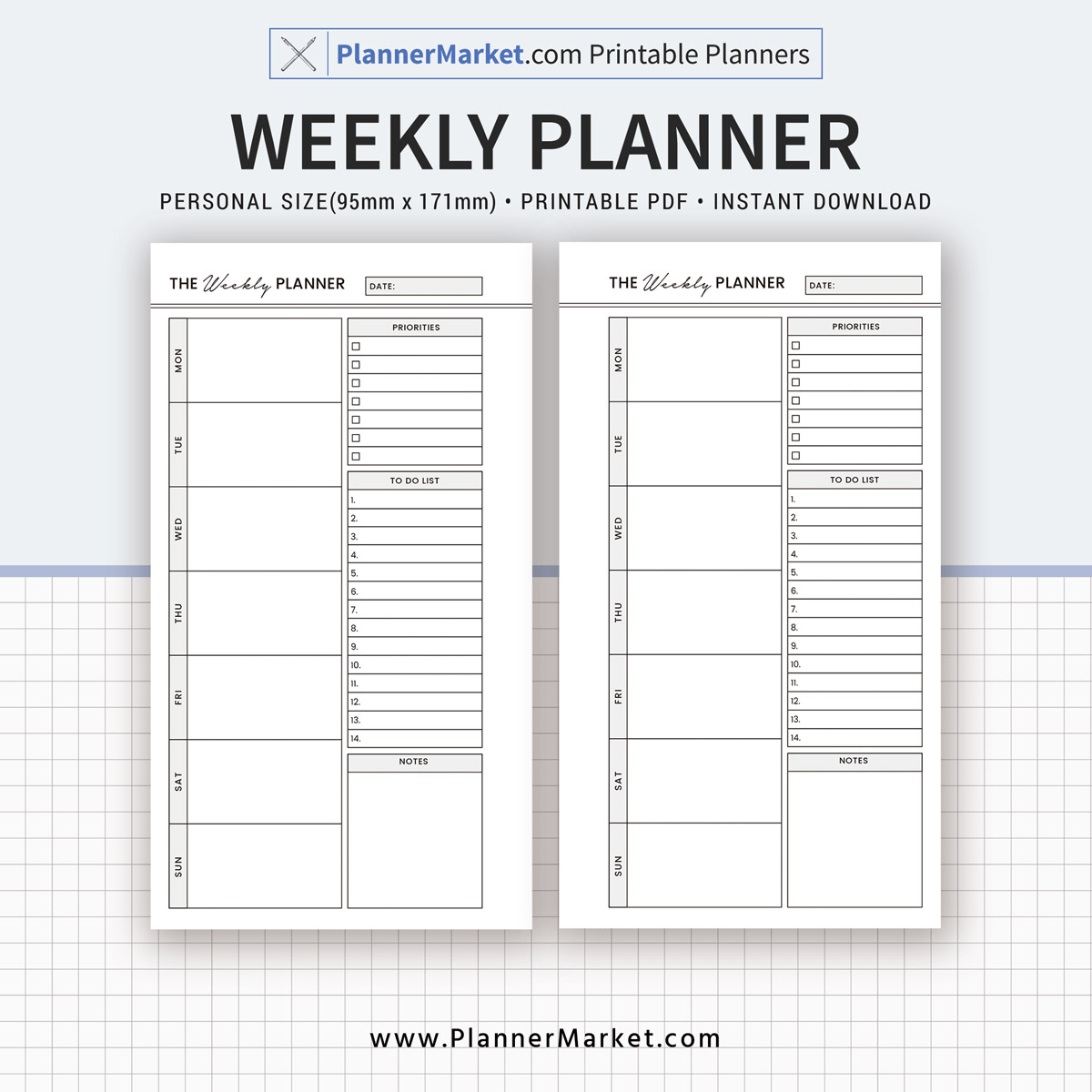image regarding Blank Weekly Schedule Pdf named Weekly Planner, 2019 Planner Inserts, Individual Dimension Planner, Planner Refill, Planner Binder, Printable PDF, Instantaneous Obtain