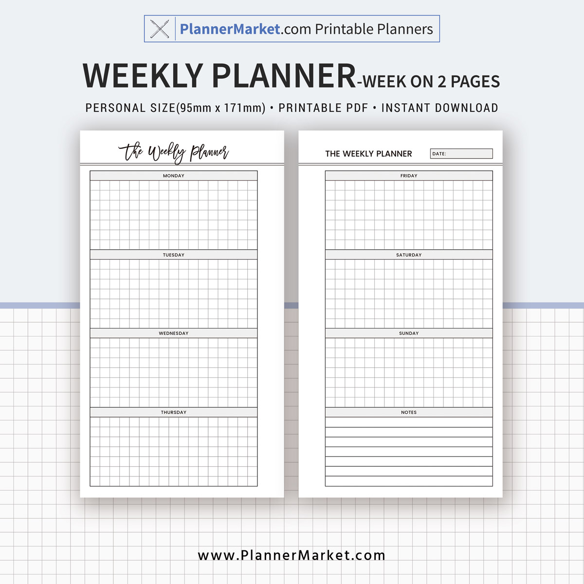 image relating to Free Planner Refills Printable titled 2019 Weekly Planner, 7 days Upon 2 Internet pages, Particular person Dimension Inserts, Planner Refill, Planner Binder, Printable PDF, Quick Obtain