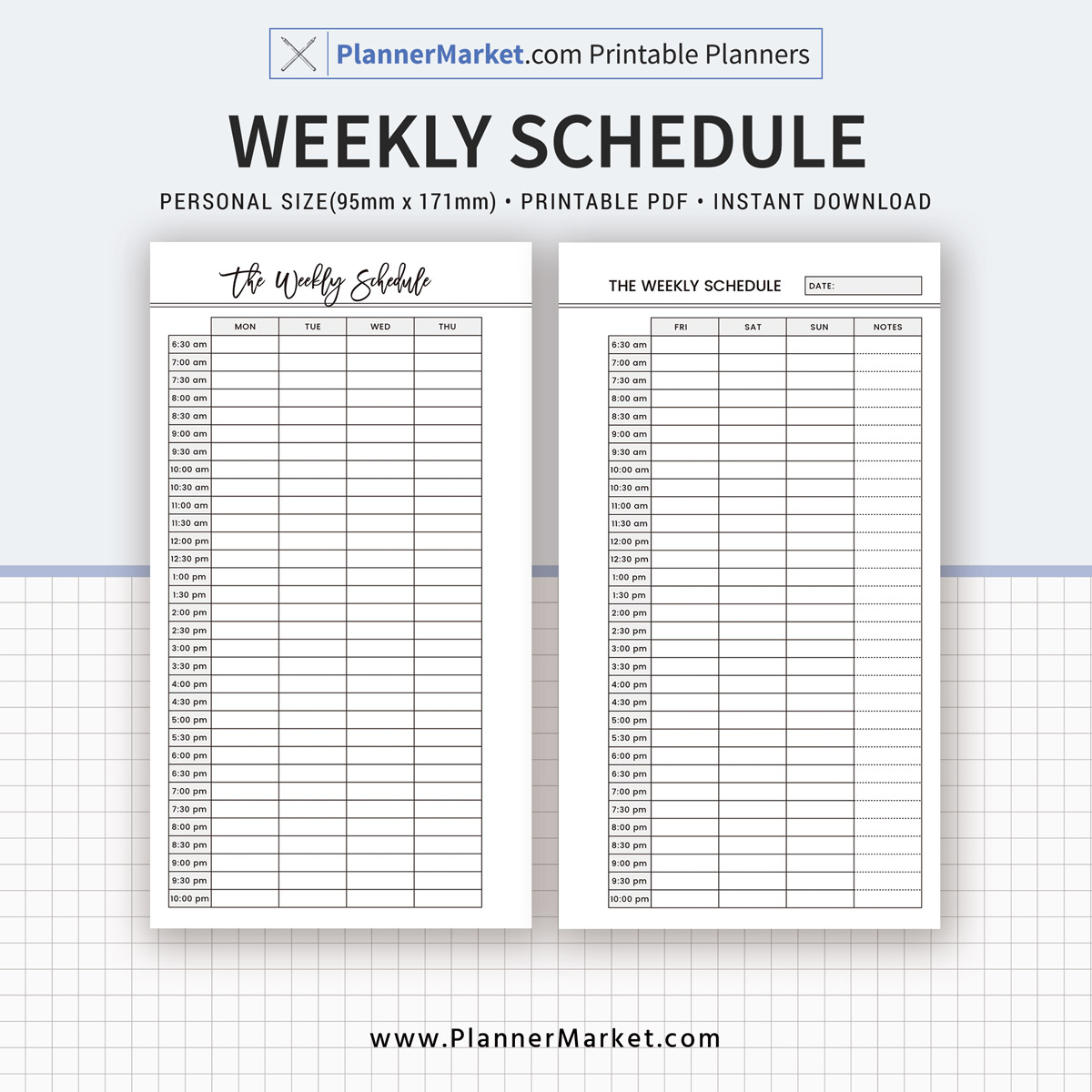 Weekly Schedule Printable 2019 Planner Personal Size Inserts
