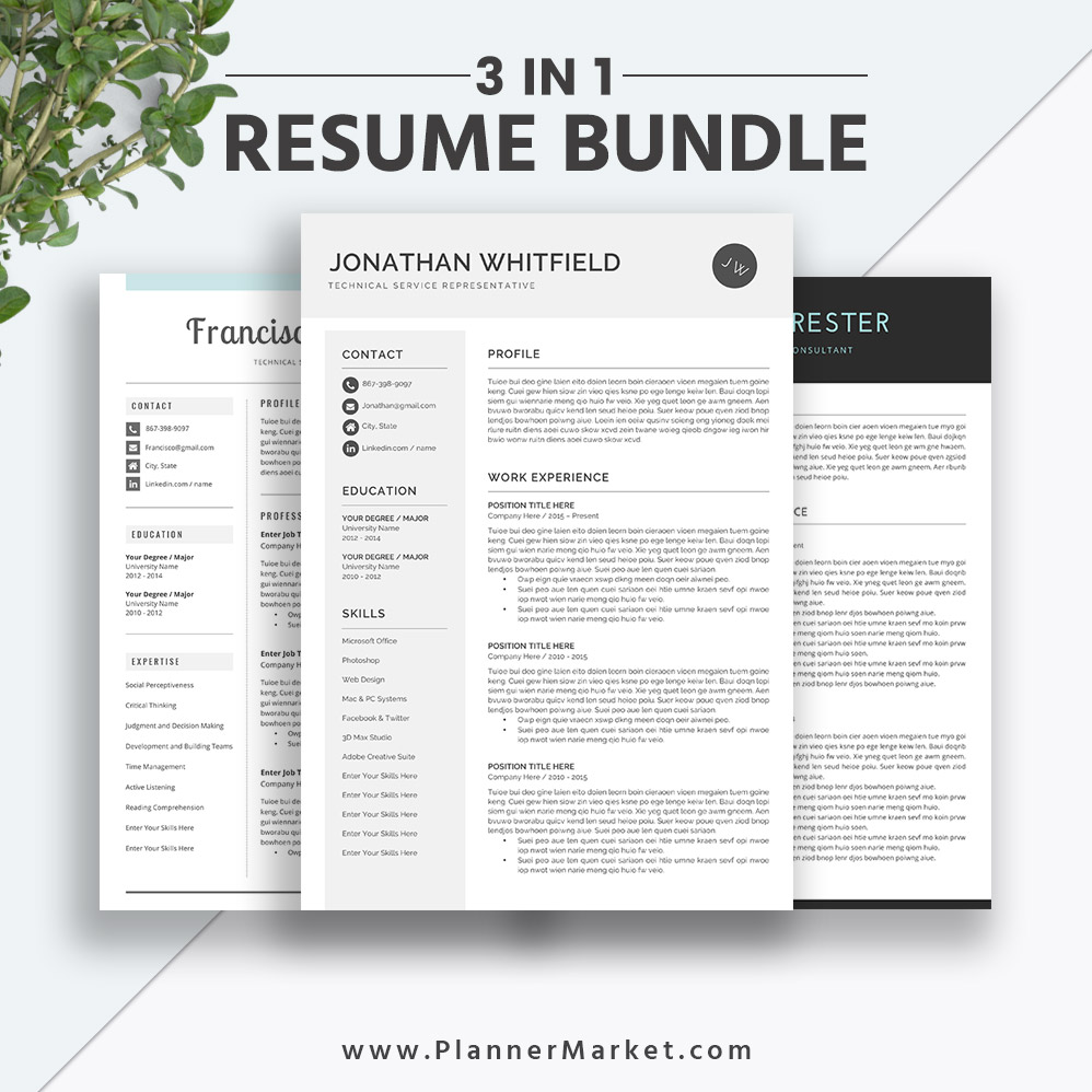 Professional and Irresistible MS Word Resume Bundle / Curriculum Vitae for  Digital Download to Help You Land Your Dream Job: The Jonathan Resume