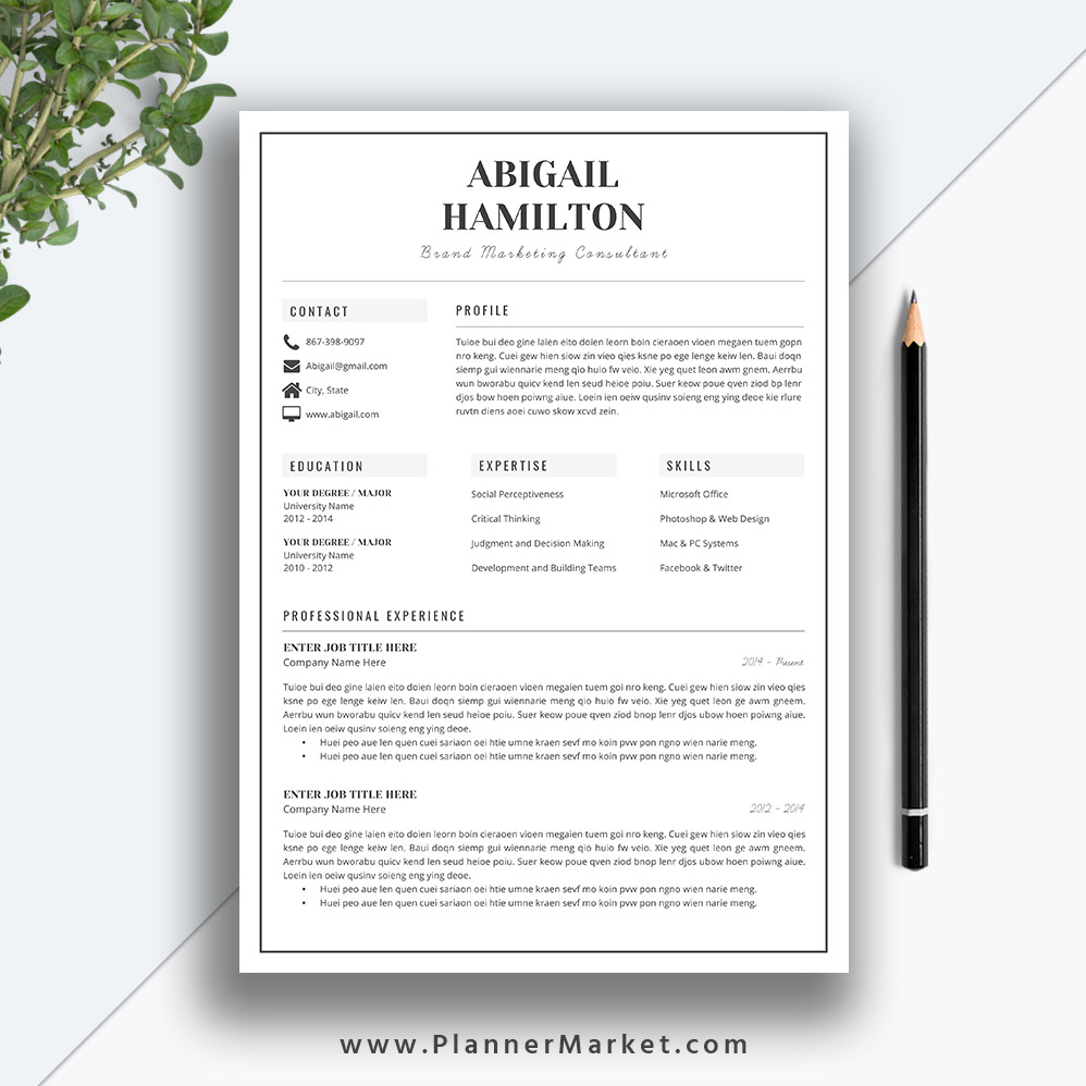modern resume template  simple cv template  professional