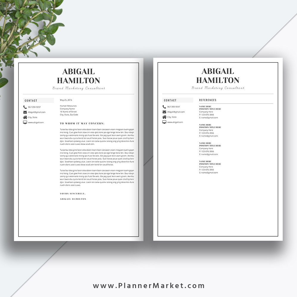 Professional Resume Template And Cover Letter Template For: Modern Resume Template, Simple CV Template, Professional