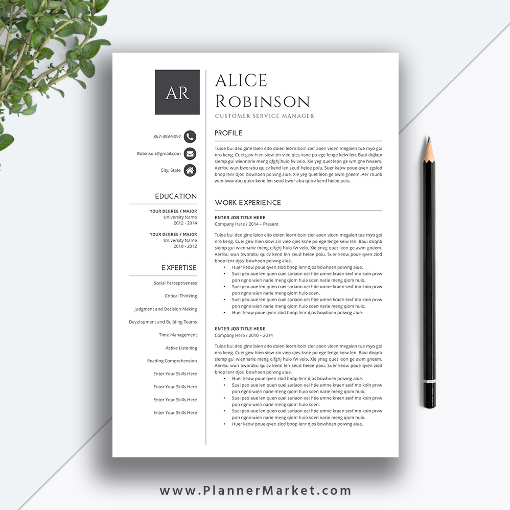 professional resume template  cover letter  ms word  creative cv template  5 page resume  modern