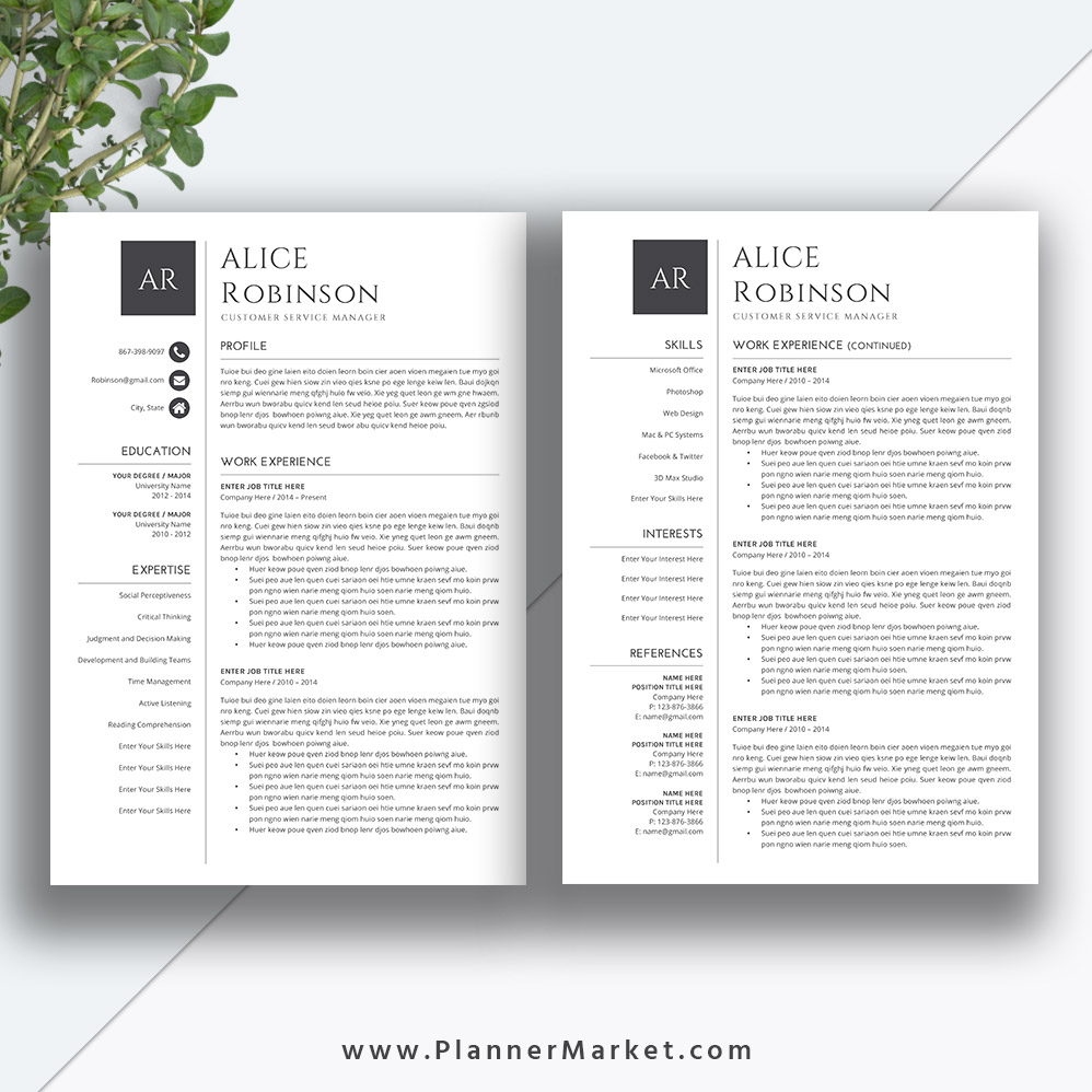 professional resume template  cover letter  ms word