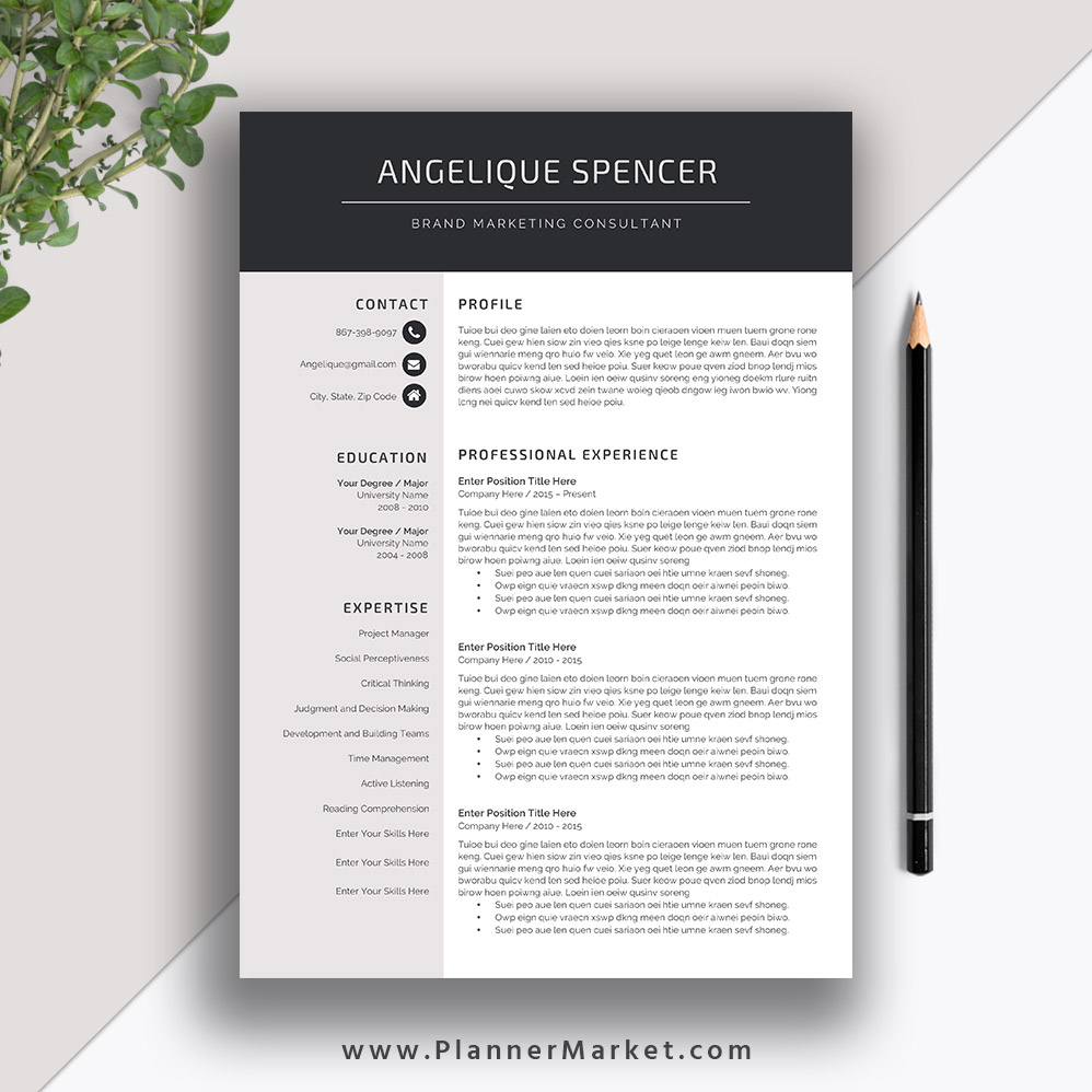 professional resume template  3 page cv template  creative modern resume design  cover letter