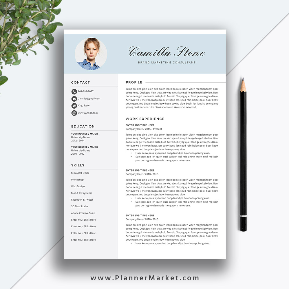 This Unique And Modern Resume Template With Matching Cover Letter Will Get You Ready For Digital Recruitment The Camilla Resume