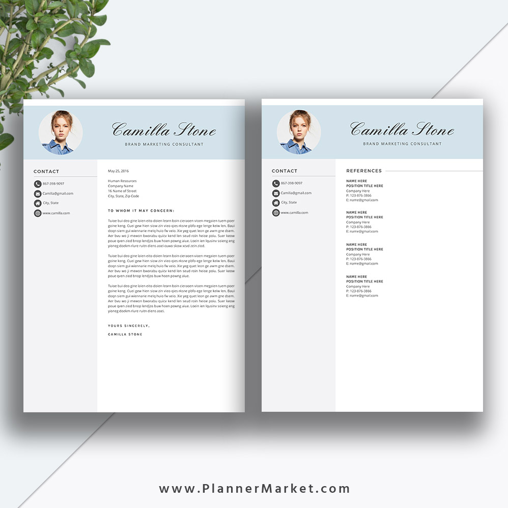 this unique and modern resume template with matching cover letter