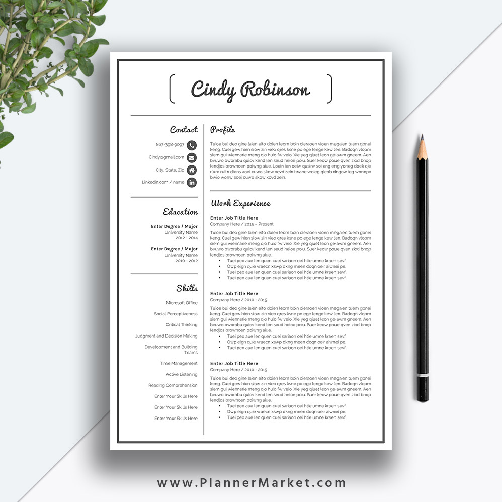 Professional Resume Template And Cover Letter Template For: Resume Template, Modern CV Template, Creative