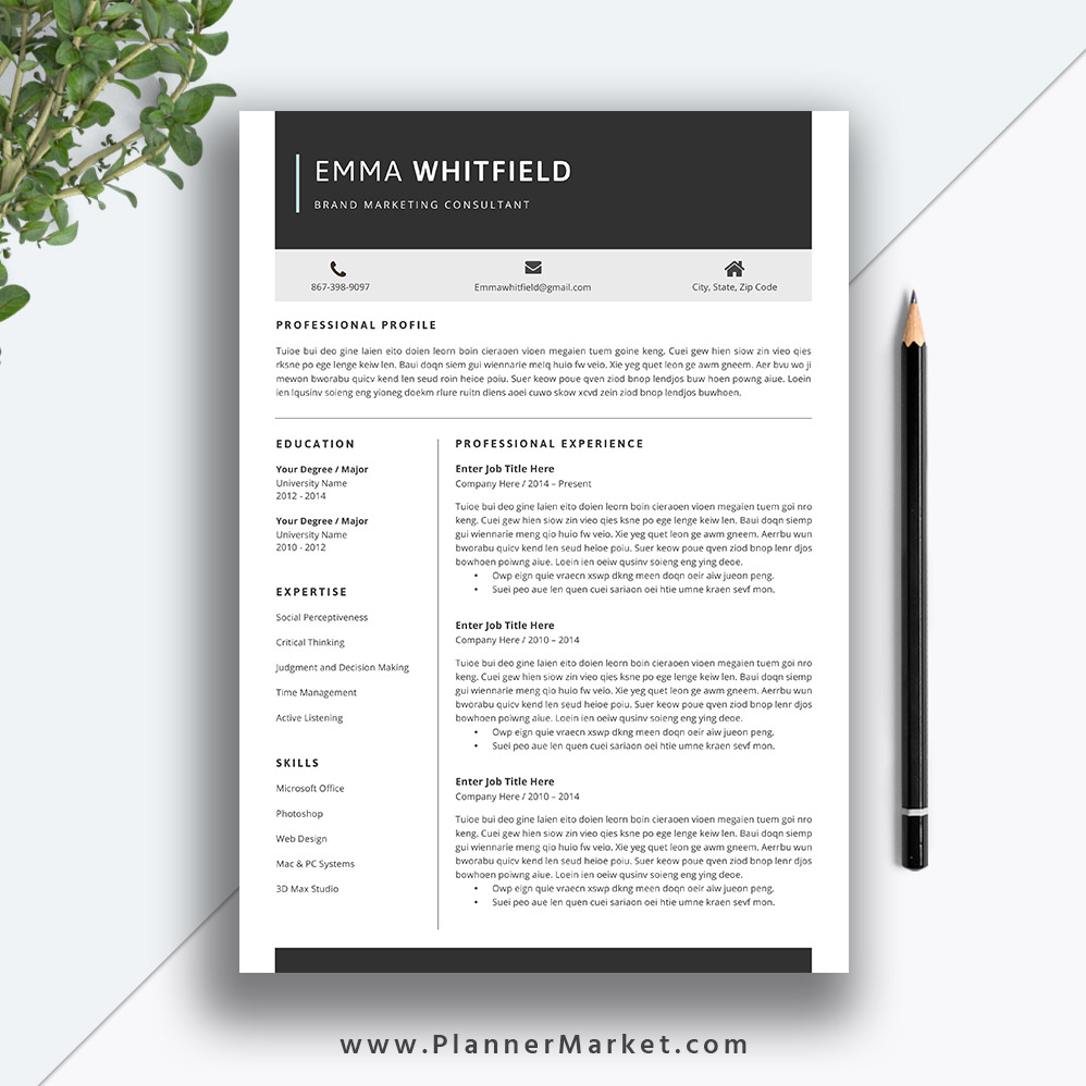 Professional Resume Template 5 Page CV Creative