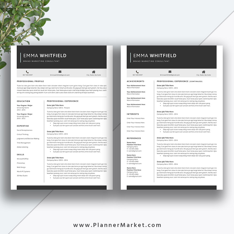professional resume template  5 page cv template  creative resume design  cover letter  ms word