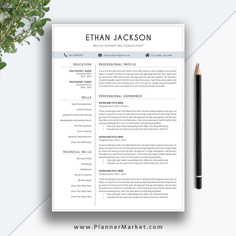 Resume Template Clean CV MS Word Professional Modern