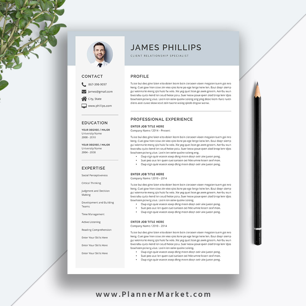 simple resume template  cv template  3 page creative resume  cover letter  ms word  instant