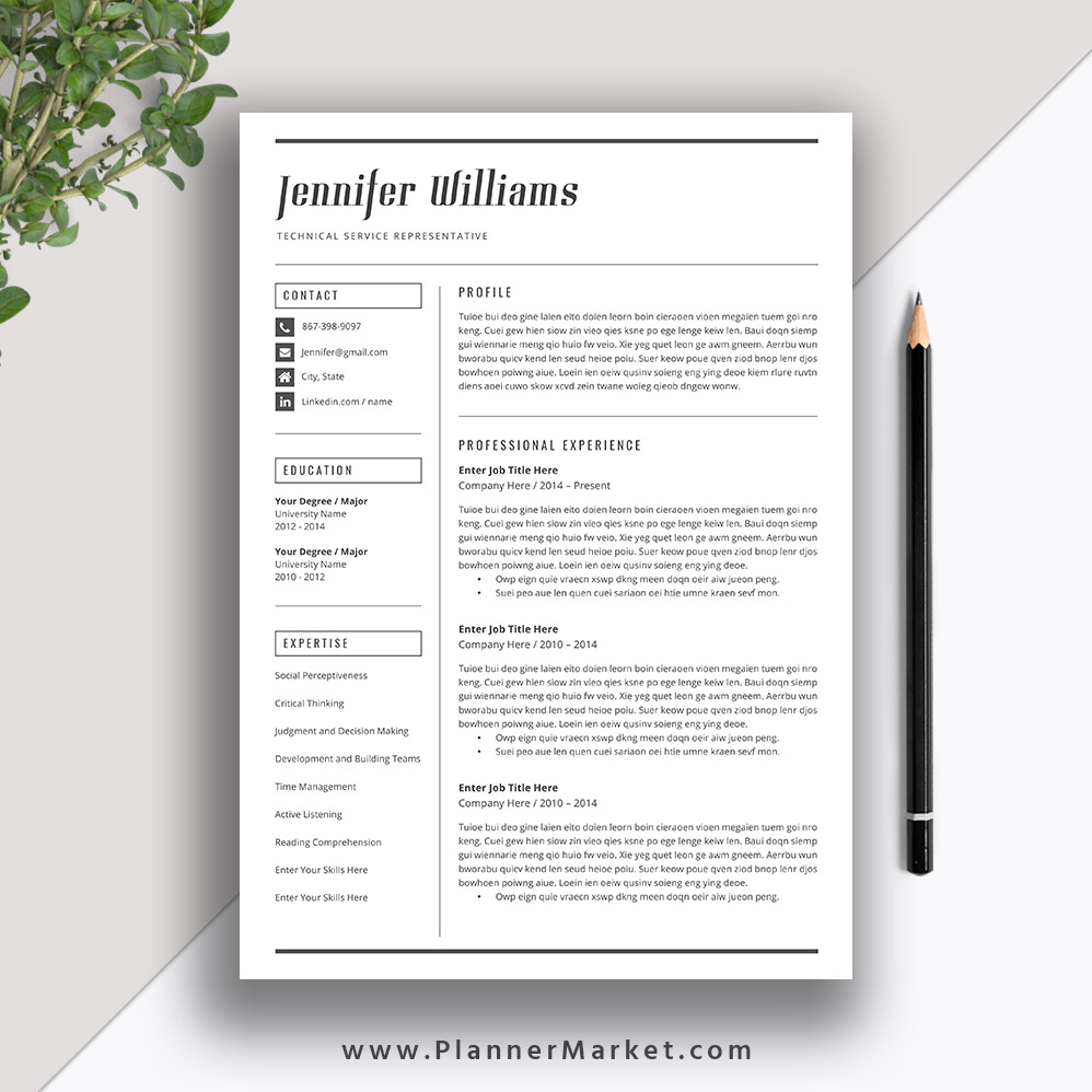 make your resume easily readable with this professionally designed resume template and cover