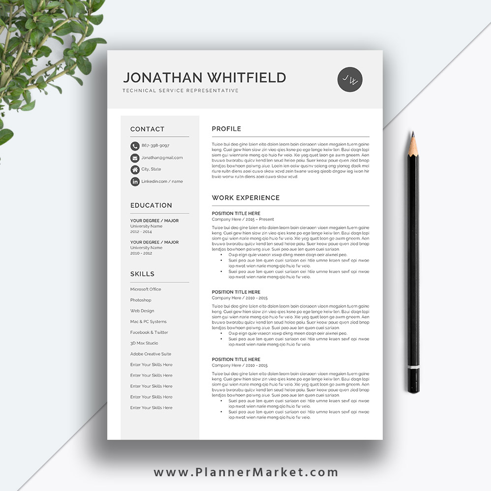resume template  3 page cv template  professional resume design  cover letter  ms word  instant