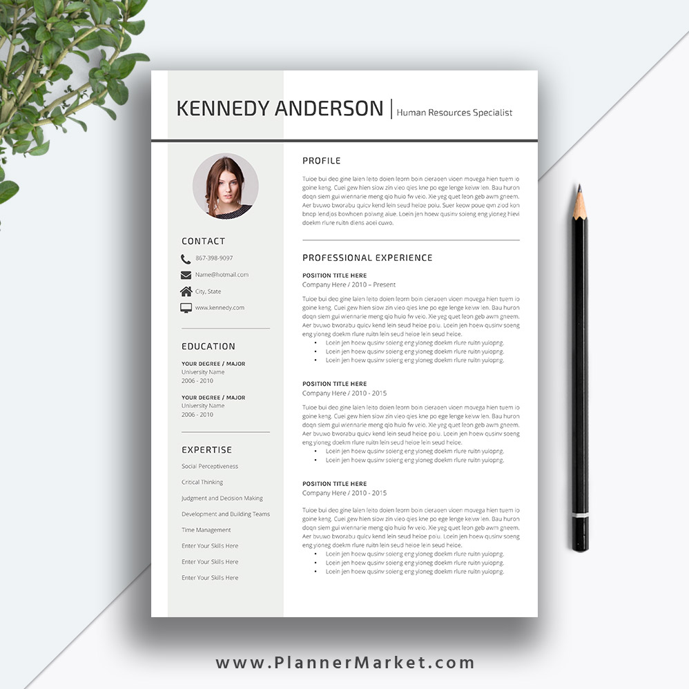 professional resume template  cv template  creative simple