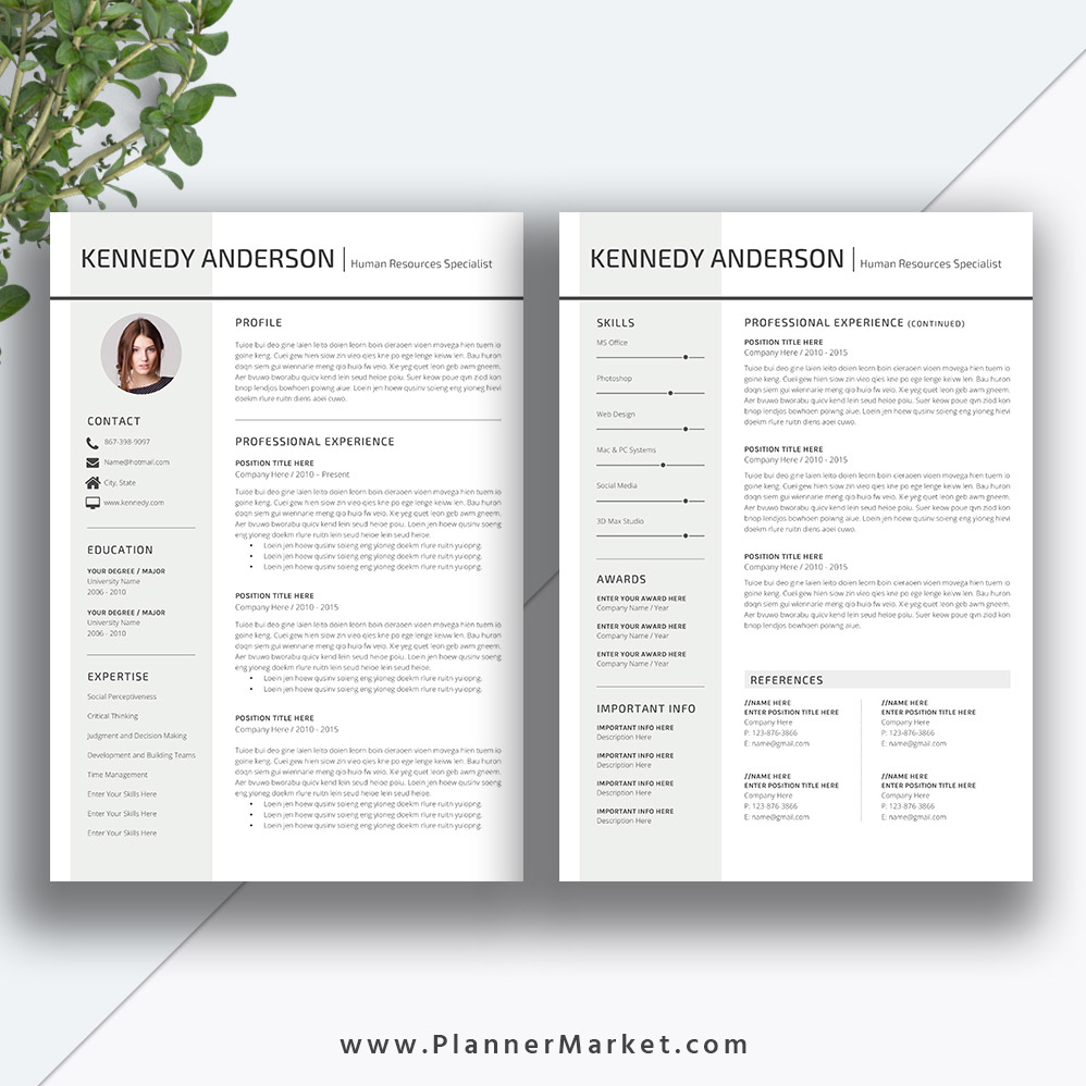 Professional Resume Template Microsoft Word: Professional Resume Template, CV Template, Creative Simple
