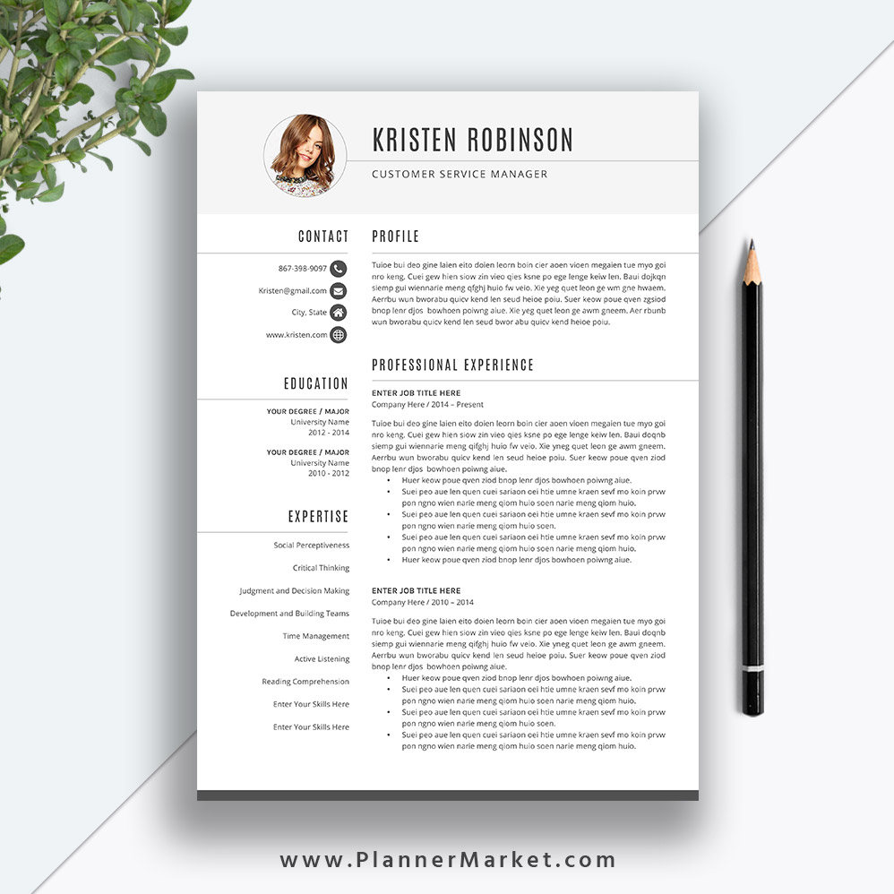 Unique Resume Template, CV Template 2020, Simple Resume Design, Cover  Letter, Word, Instant Download, The Kristen Resume
