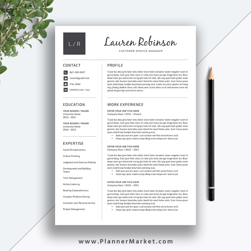 Professional Resume Template, CV Template, Teacher Resume Design ...