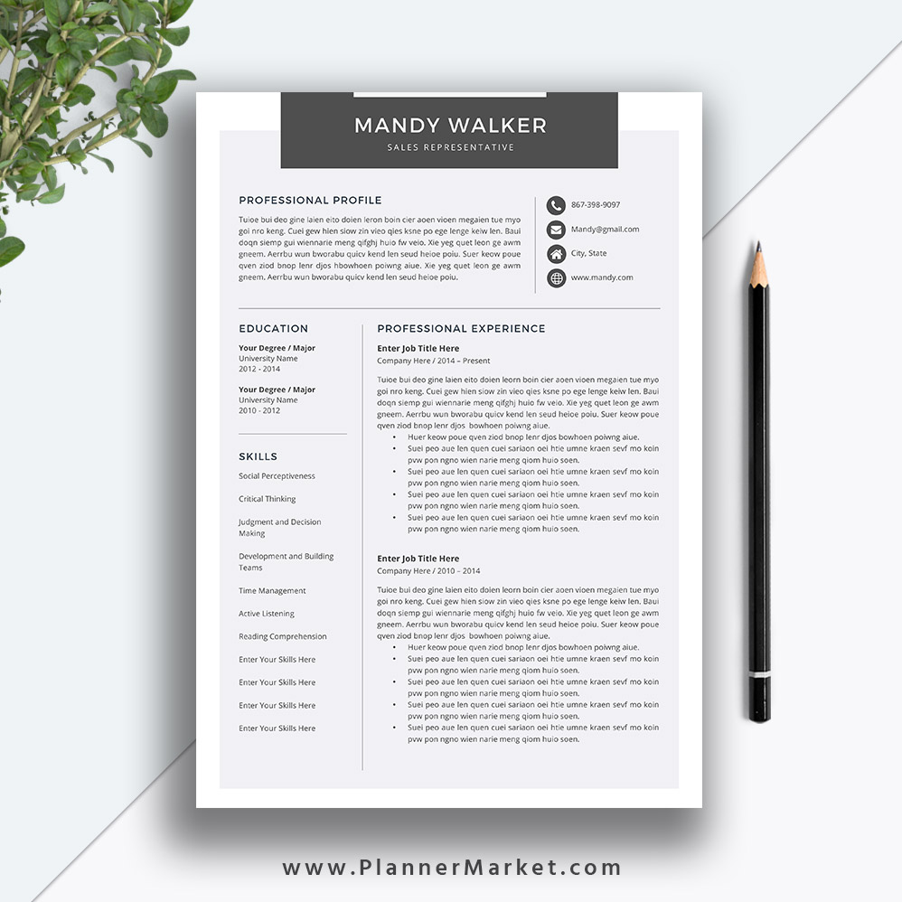 Professional Cv Resume Templates: Clean Resume Template, Cover Letter, MS Word, Creative CV