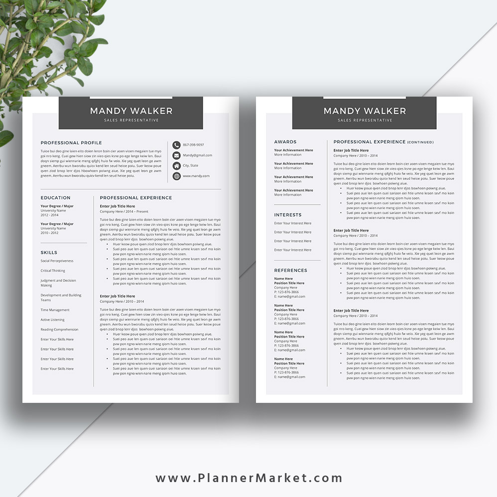 Clean Resume Template Cover Letter Ms Word Creative Cv Template - Cv-clean-resume