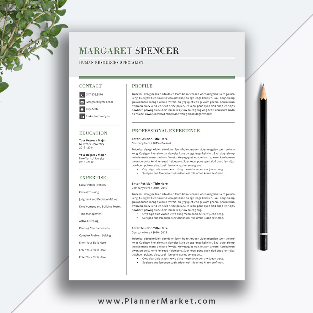 creative resume template word  3 page cv template  professional teacher resume design  cover