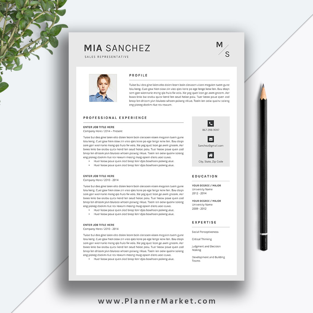 creative resume template  cv template  professional modern resume  cover letter  ms word