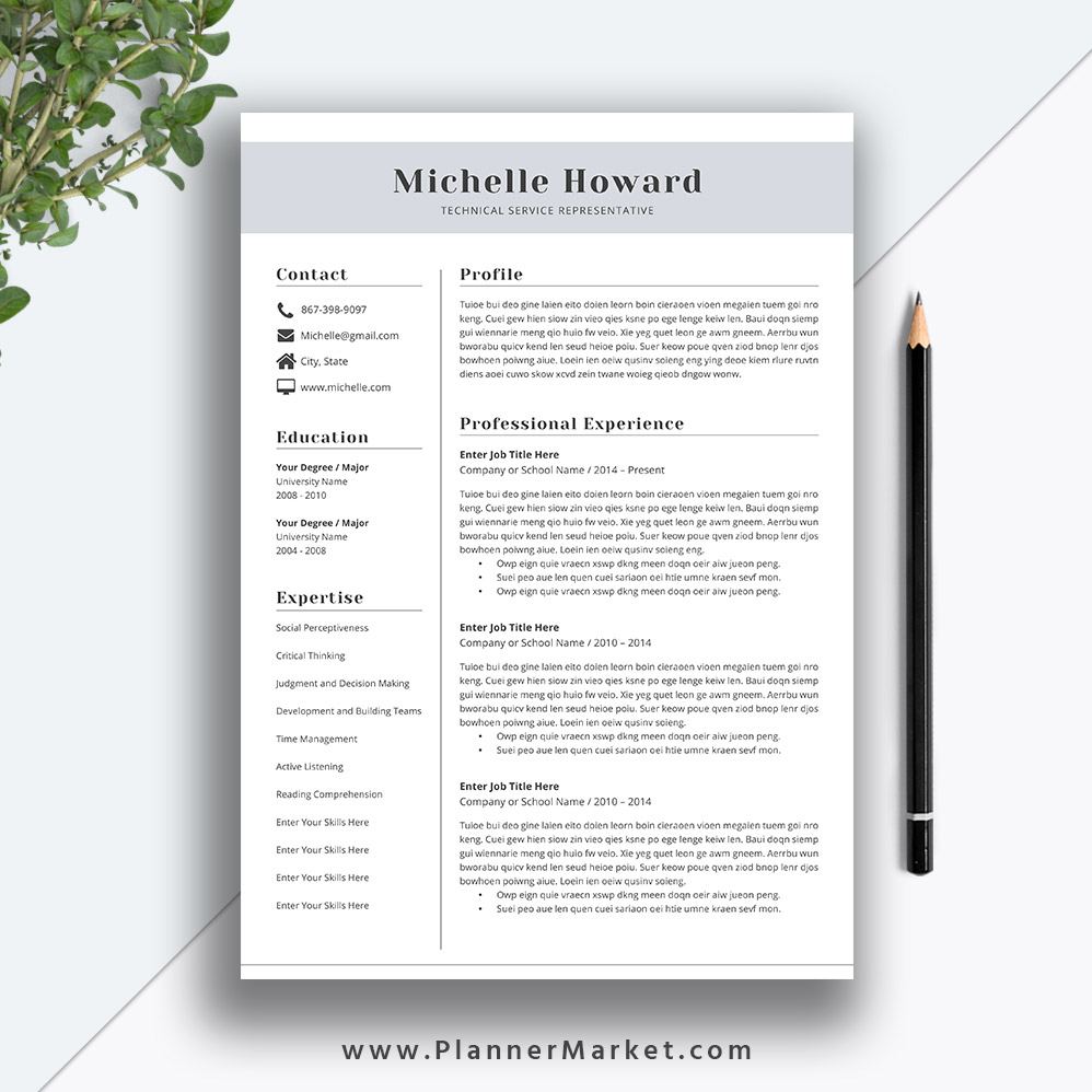 professional resume template  cv template  creative resume design  modern resume  cover letter