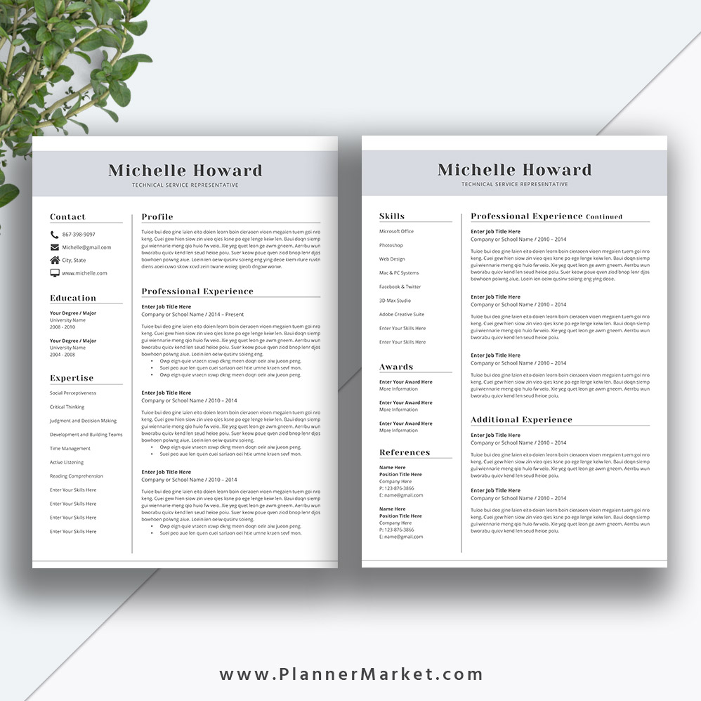 Professional Resume Template: Professional Resume Template, CV Template, Creative Resume