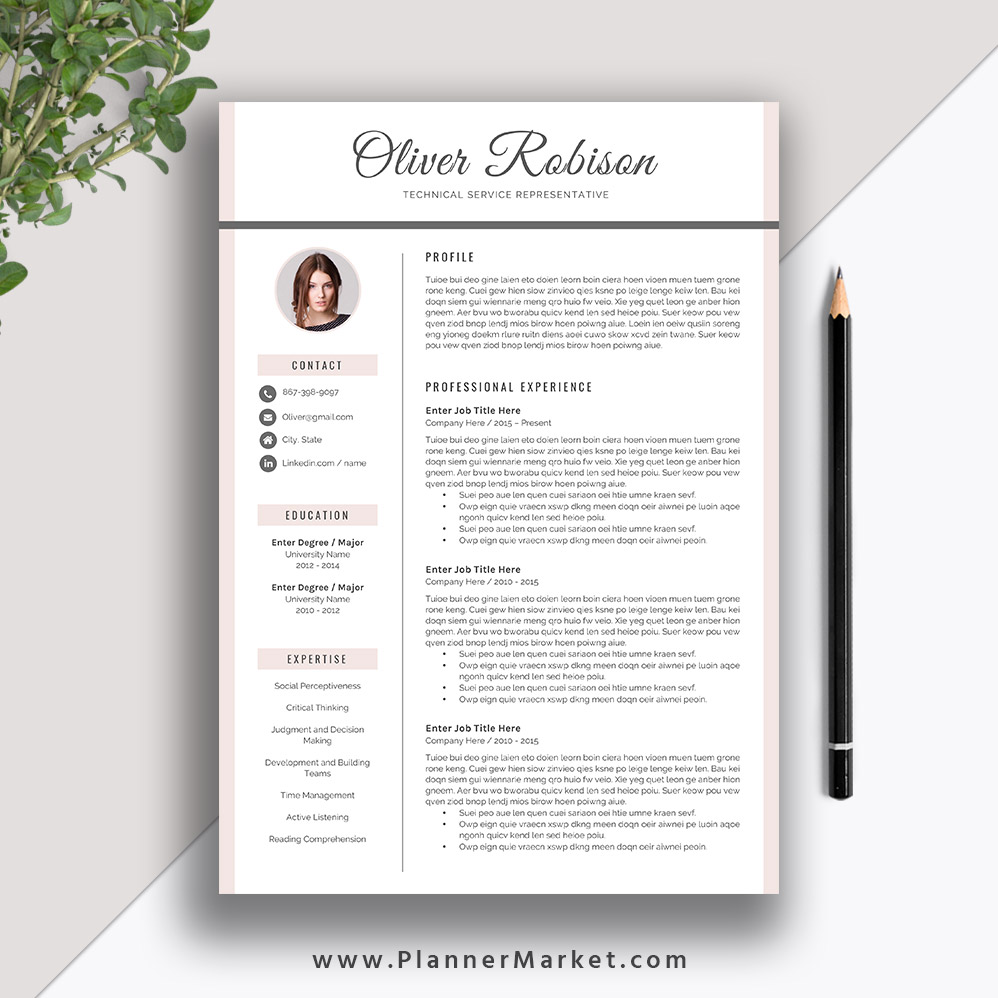 Professional Resume Template CV 3 Page Creative Cover Letter MS Word Instant Download The Oliver