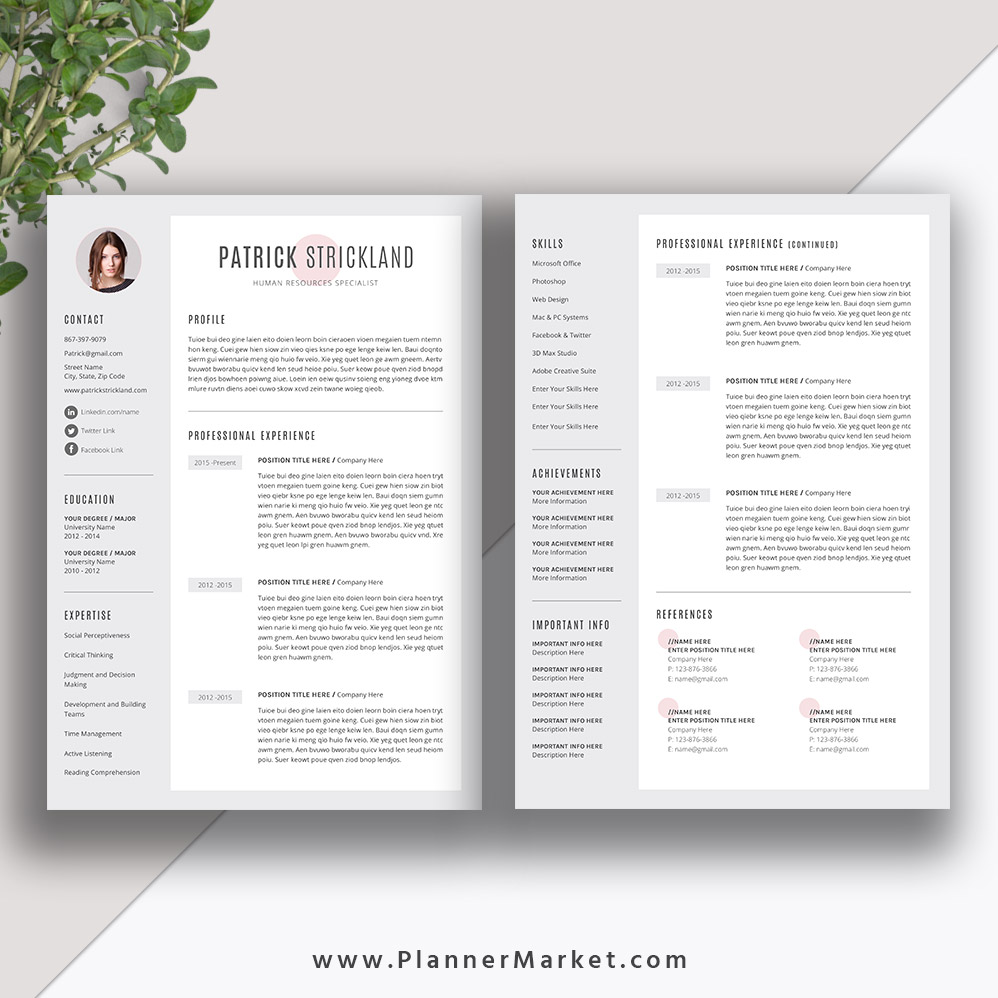 unique resume template  creative cv template word  modern resume design  cover letter  instant
