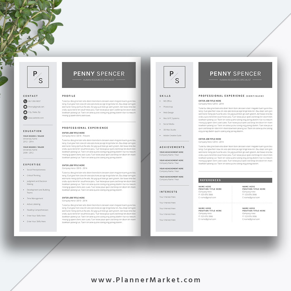 resume template  simple cv template  professional modern resume design  cover letter  ms word