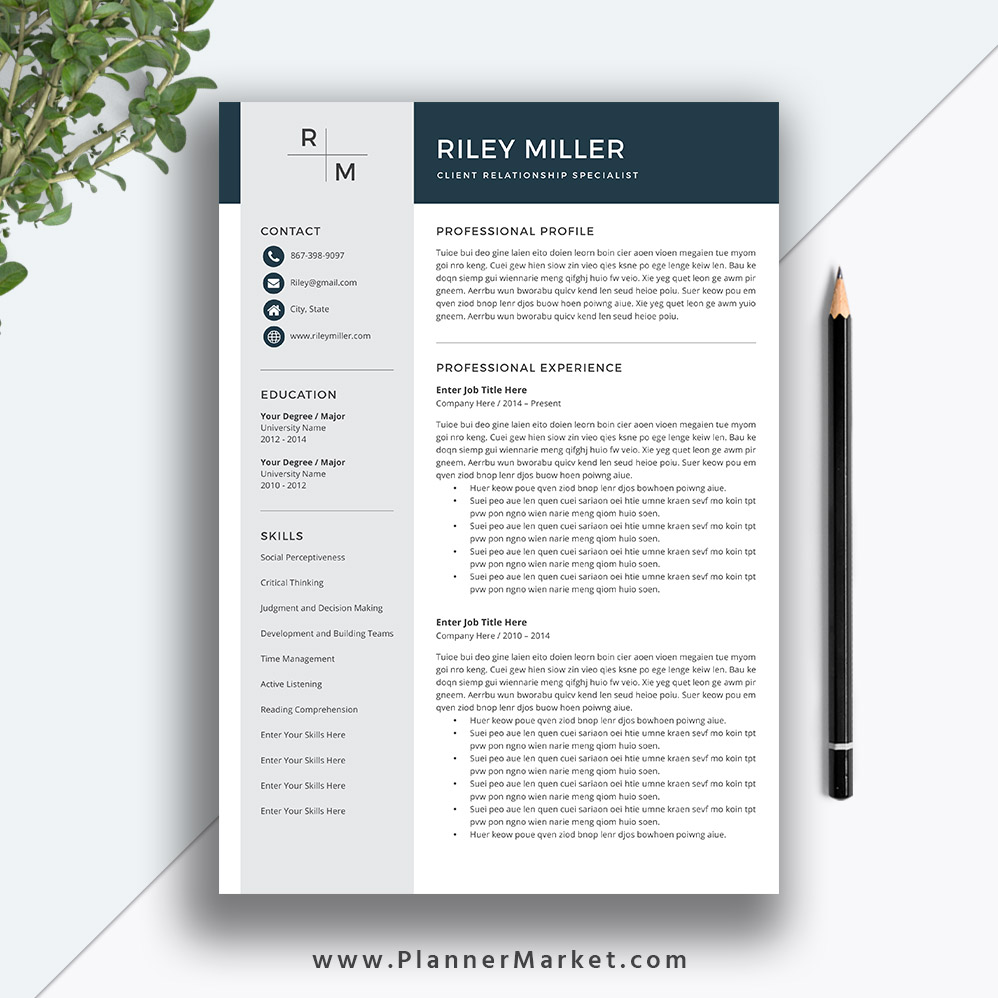 Professional Resume Template And Cover Letter Template For: Professional Resume Template, CV Template, Creative Resume