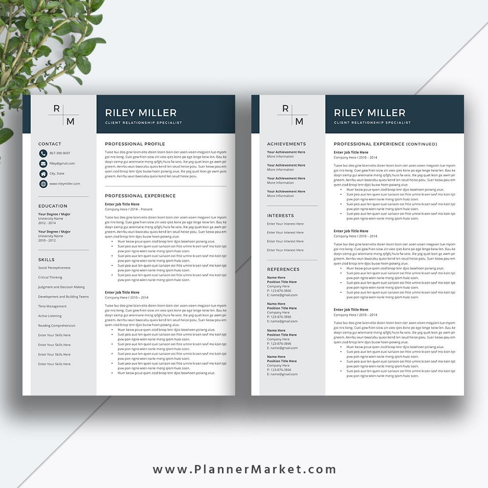 Professional Resume Template Cv Template Creative Resume Modern