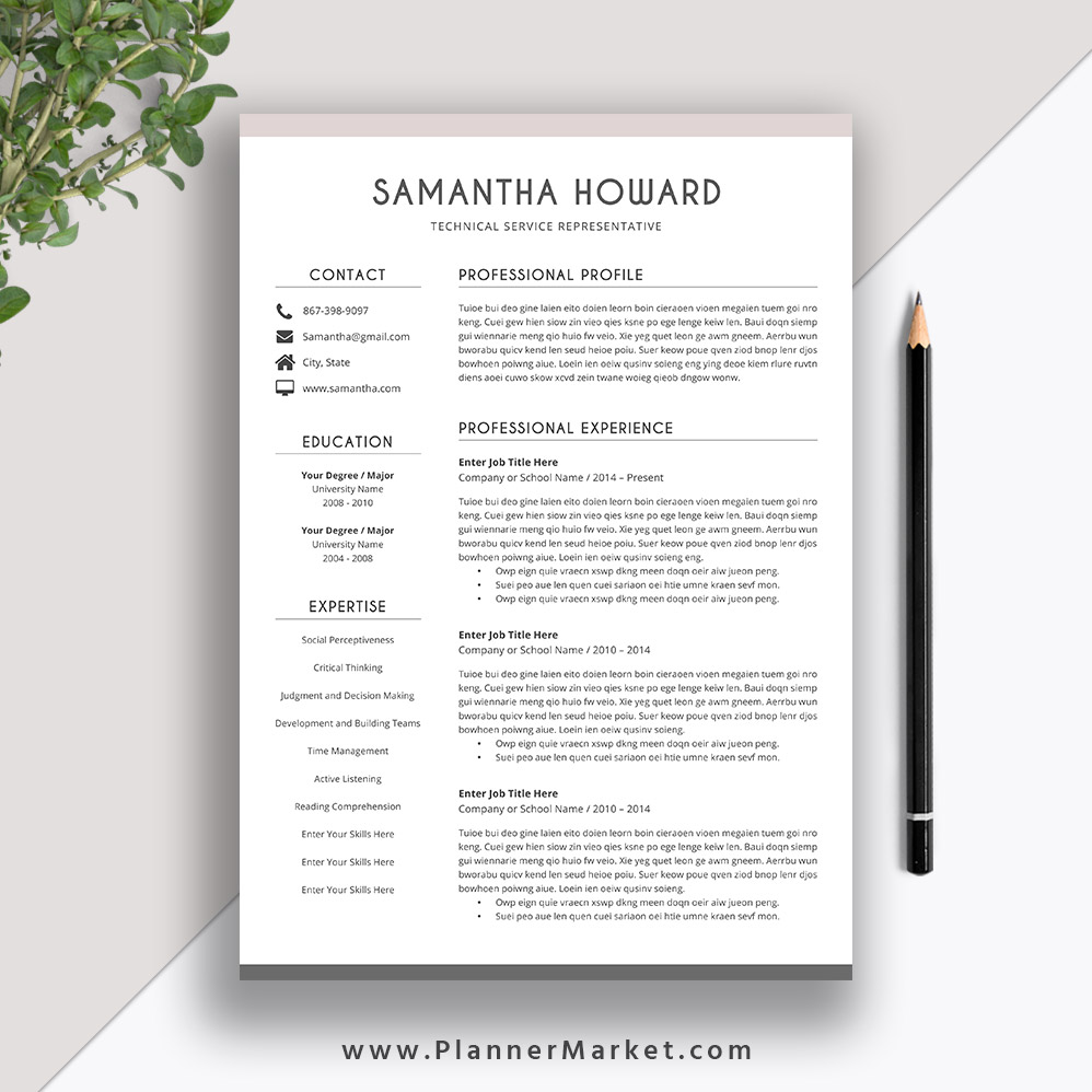 Clean Resume Template 2019 2020 Cover Letter CV Word