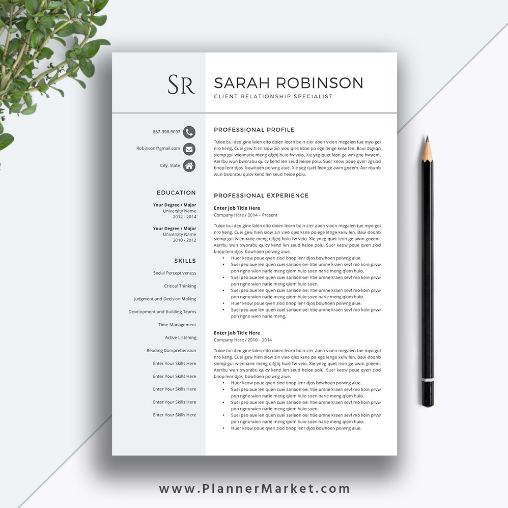 teacher resume template  cv template  professional modern resume  cover letter  ms word  instant