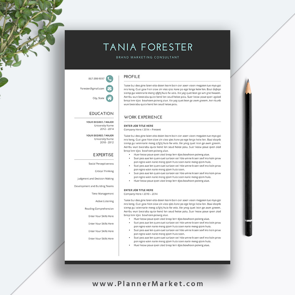 resume template 3 page  unique cv template  professional modern resume design  cover letter  ms
