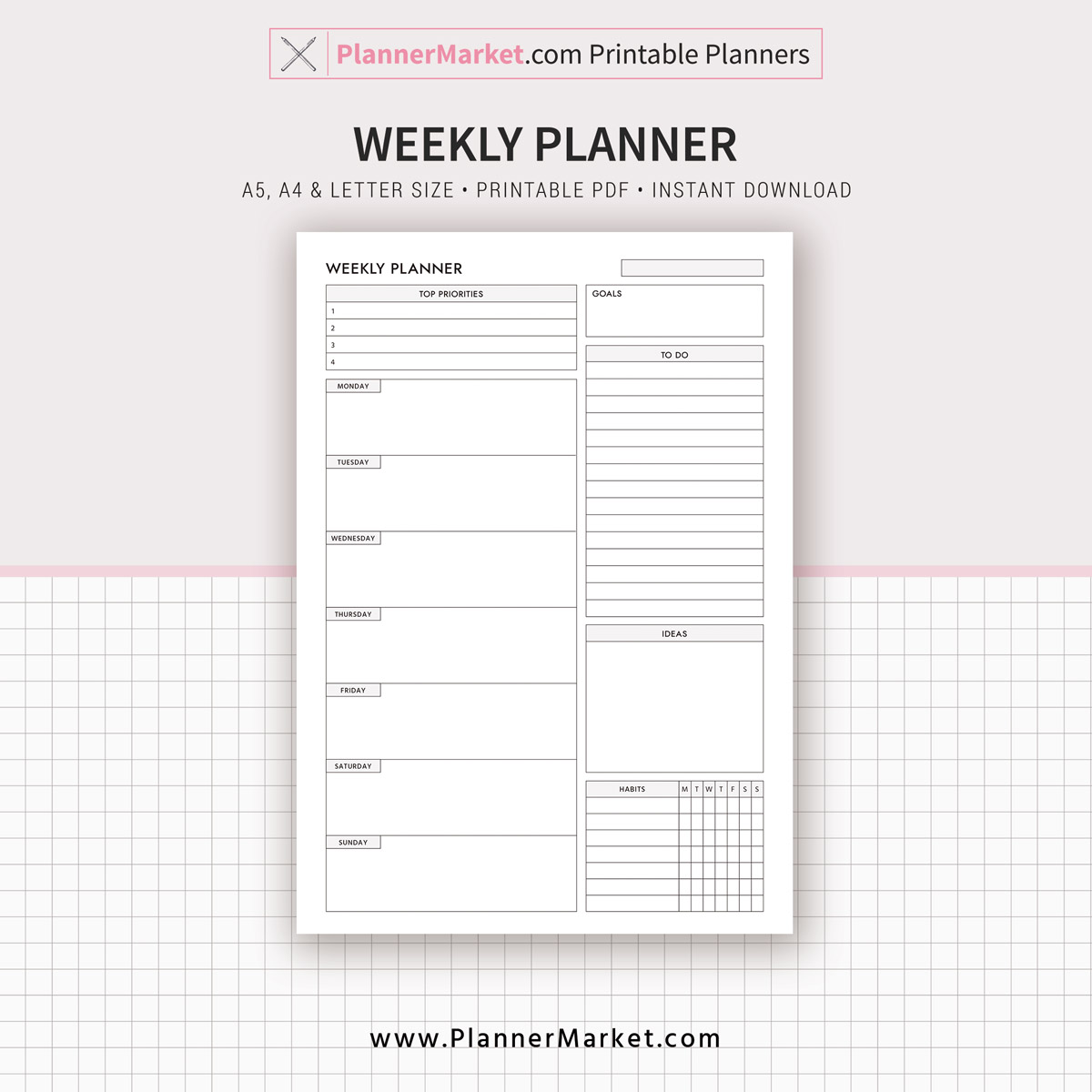 Daily Weekly Monthly Planner Printable Planner Filofax A5 Inserts A5 A4 Letter Size Planner Pages Refill Planner Inserts Plannermarket Com Best Selling Printable Templates For Everyone