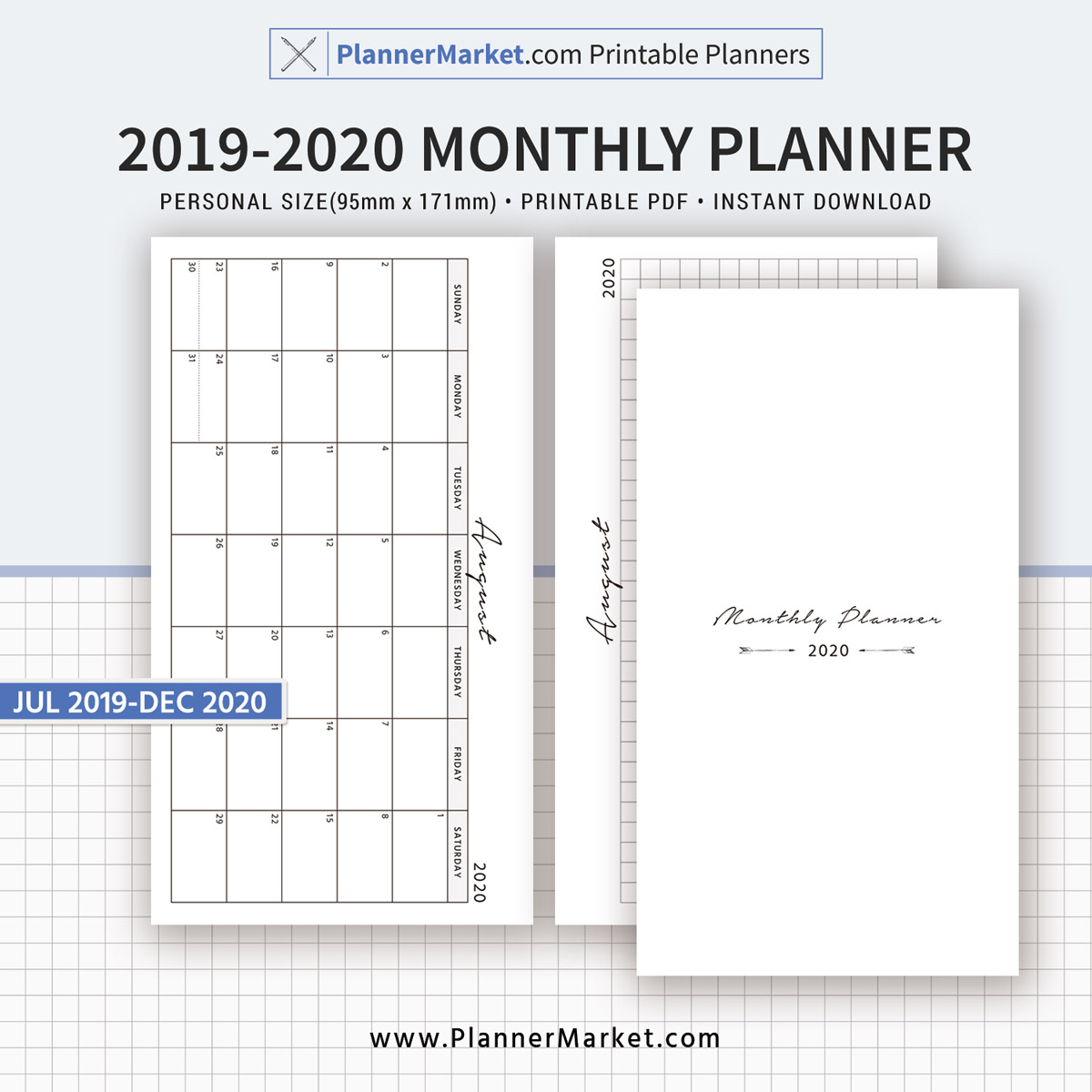 photo regarding Printable Planner referred to as 2019-2020 Every month Planner, 18-Thirty day period Dated Calendar, Every month Routine, Particular person Dimensions, Planner Inserts, Refills, Printable Planner